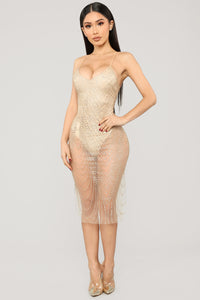 My New Love Glitter Midi Dress - Gold