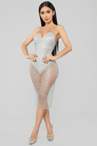 My New Love Glitter Midi Dress - Silver
