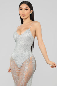 My New Love Glitter Midi Dress - Silver Angle 2
