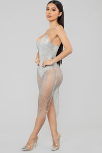 My New Love Glitter Midi Dress - Silver Angle 3
