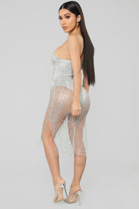 My New Love Glitter Midi Dress - Silver Angle 4