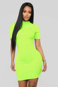 See You Anywhere Ribbed Midi Dress - Lime