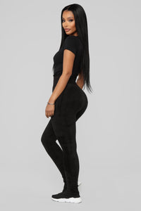 Plush Play Leggings - Black Angle 1