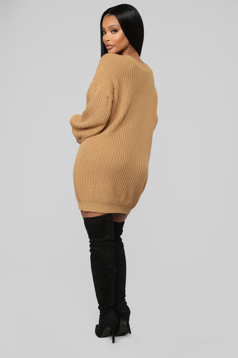 All For It Sweater Dress - Camel