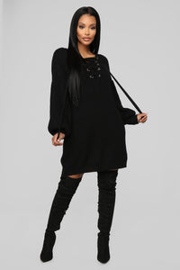 All For It Sweater Dress - Black