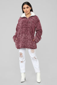 Let's Get Comfy Jacket - Burgundy