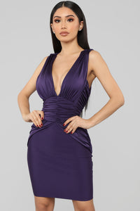 Name Drop Bandage Dress - Purple