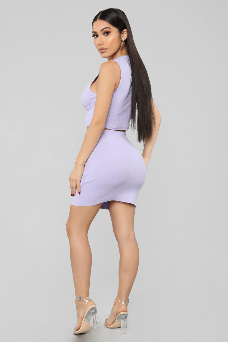 Cuter Than U Mini Skirt Set - Lavender