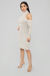 Show A Little Shoulder Sweater Dress - Oatmeal