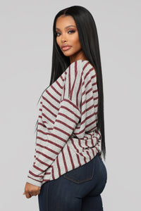 Cozy Stripe Knot Top - Wine/Combo