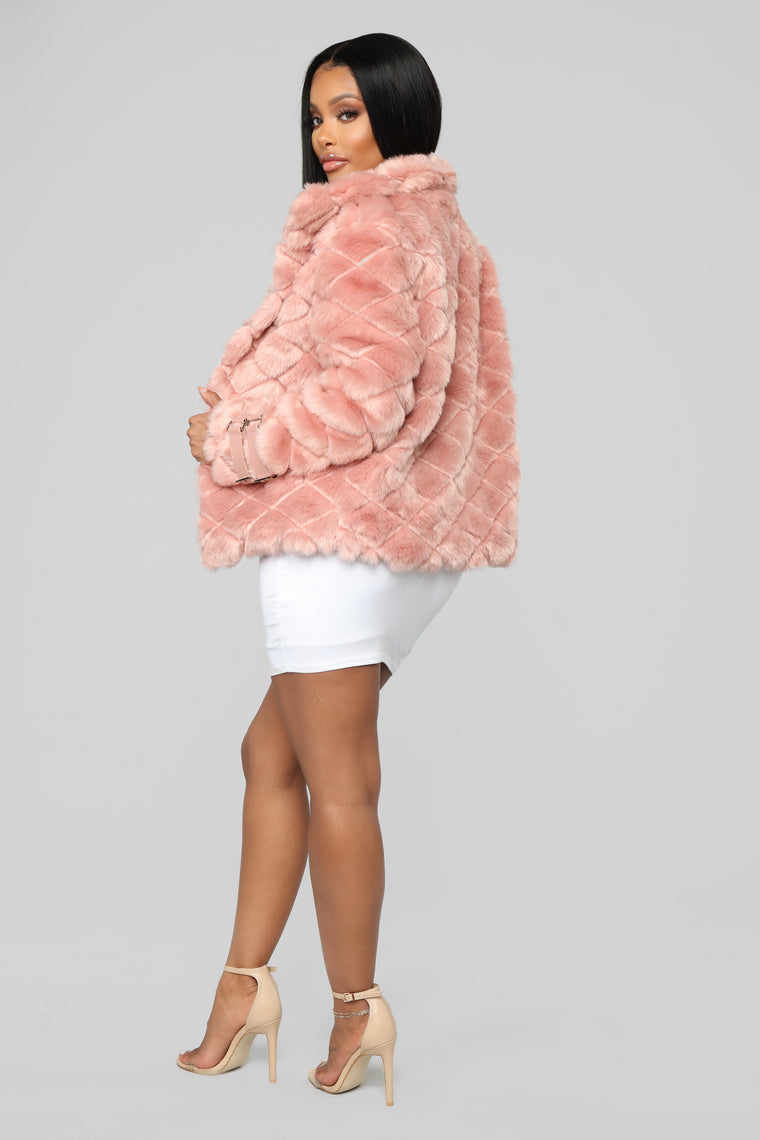 Classic But Fierce Faux Fur Jacket - Mauve