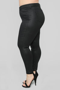 Ripple Effect High Rise Skinny Jeans - Coated Black