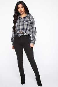Chill For the Weekend Plaid Top - Ivory/combo Angle 3
