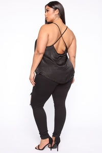 Bosses Own Satin Top - Black Angle 5