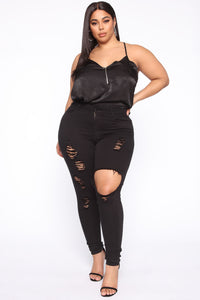 Bosses Own Satin Top - Black Angle 2