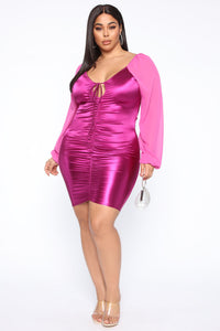 Always In The Spotlight Ruched Mini Dress - Magenta Angle 7