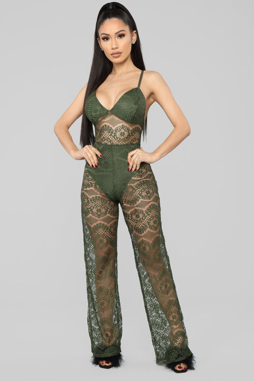 Just One Night Lingerie Jumpsuit - Olive
