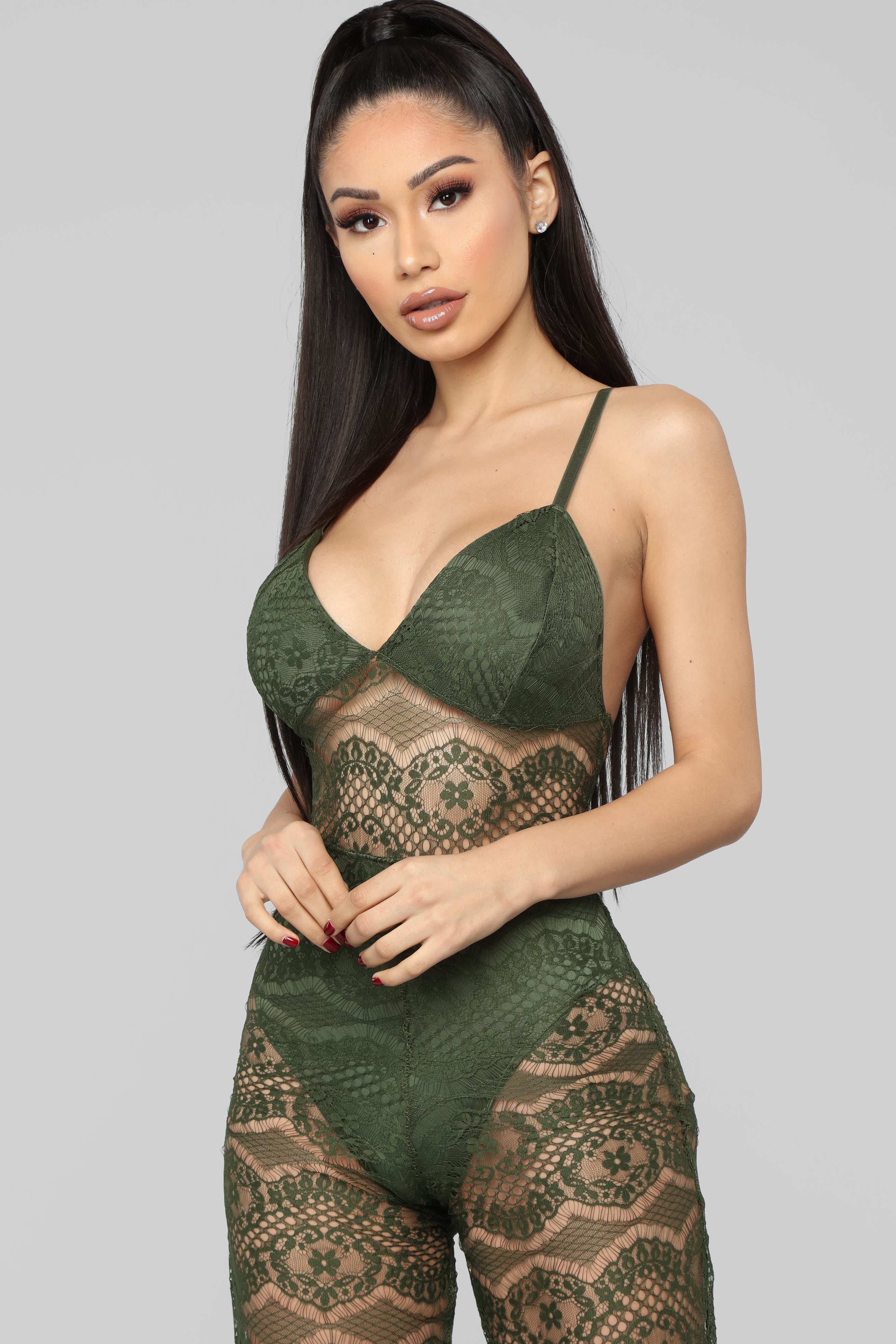 b87274230b191 Just One Night Lingerie Jumpsuit - Olive