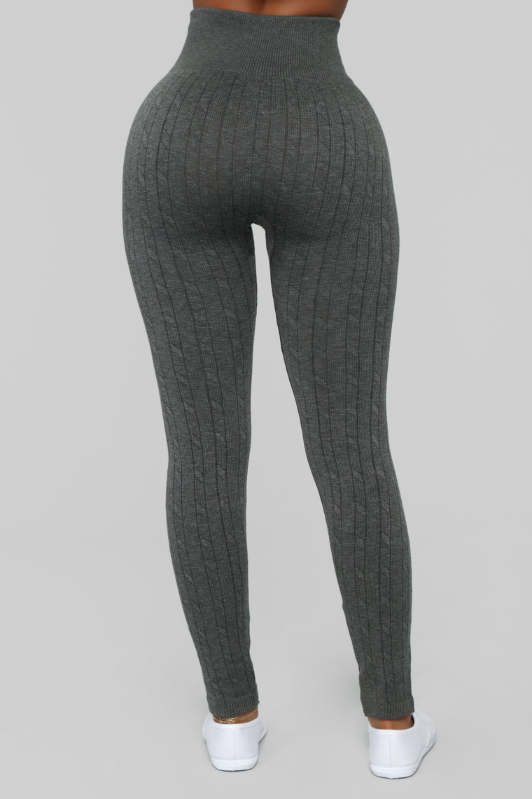 Finders Keepers Cable Knit Leggings - Olive