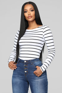 Sleek Striped Top - White/Black