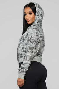 Love All Over Hoodie - Grey