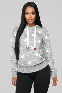 She's A Star Hoodie - Grey/White Angle 1