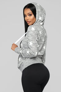 She's A Star Hoodie - Grey/White Angle 3