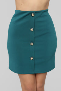 So Buttoned Up Skirt - Hunter
