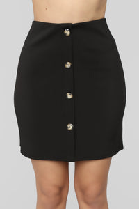 So Buttoned Up Skirt - Black