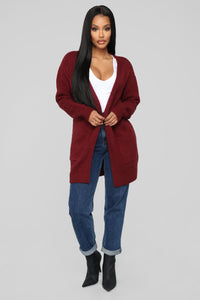 Holdin' Onto You Cardigan - Burgundy