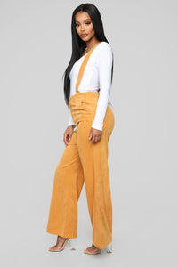 Seeking Your Attention Suspender Pants - Mustard