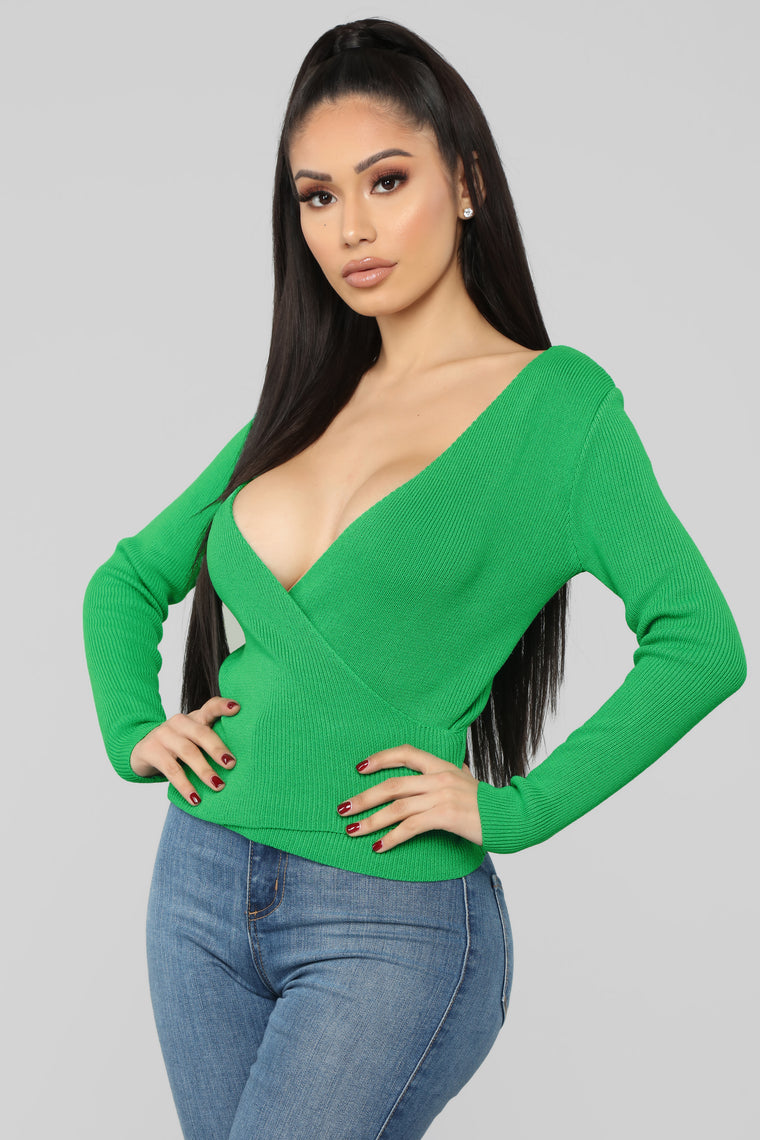 Gardenia Surplice Sweater - Green