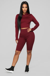 Leyla Long Sleeve Lounge Set - Burgundy Angle 1