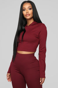 Leyla Long Sleeve Lounge Set - Burgundy Angle 2