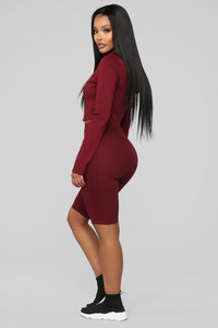 Leyla Long Sleeve Lounge Set - Burgundy Angle 4