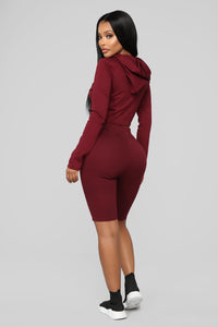 Leyla Long Sleeve Lounge Set - Burgundy Angle 5