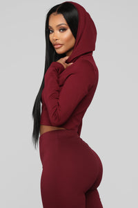 Leyla Long Sleeve Lounge Set - Burgundy Angle 3