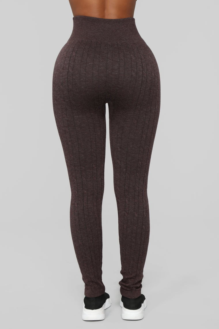 Finders Keepers Cable Knit Leggings - Chocolate