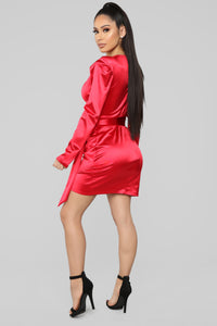 Twenty Fun Satin Dress - Red