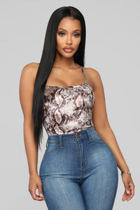 Lost In Japan Bodysuit - Brown