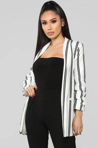 Work Something Out Blazer - Ivory/Black