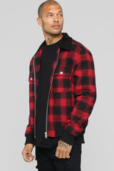 James Casual Jacket   Red/Combo by Fashion Nova