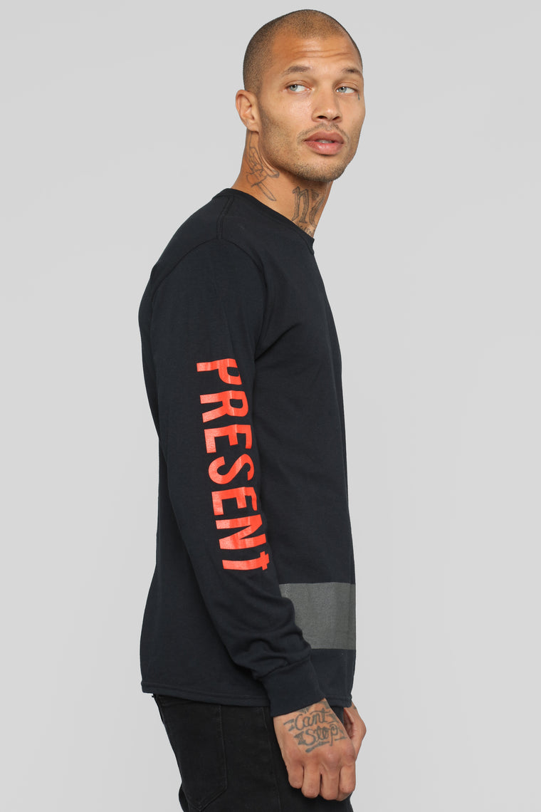 PPF Long Sleeve Tee - Black/Red