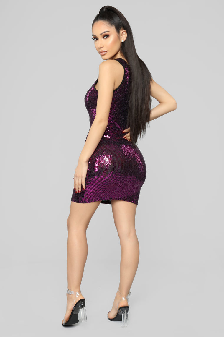 See You At Midnight Sequin Mini Dress - Magenta