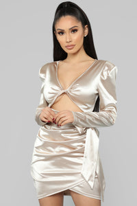 Twenty Fun Satin Dress - Nude