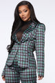 Plaid Your Game Satin Blazer - Green