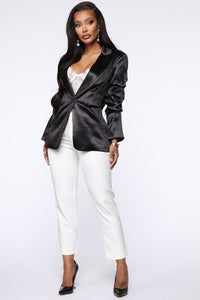 Make It Satin Blazer - Black Angle 2