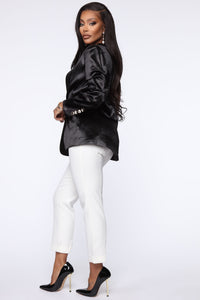 Make It Satin Blazer - Black Angle 3
