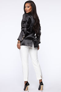 Make It Satin Blazer - Black Angle 5