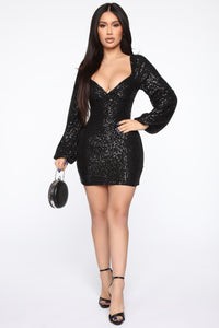 Ice Baby Sequin Mini Dress - Black Angle 1
